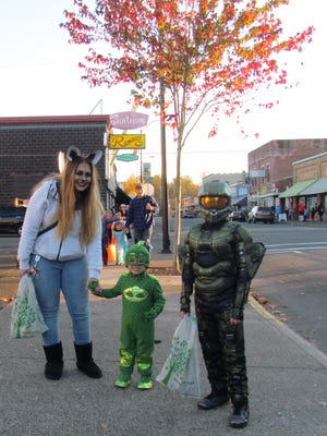 Families dressed up to head downtown in Stayton on Tuesday, Oct. 31.