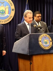 New York State Attorney General Eric Schneiderman announcing corruption charges against Mount Vernon Mayor Richard Thomas during a press conference in Manhattan on March 12, 2018.
