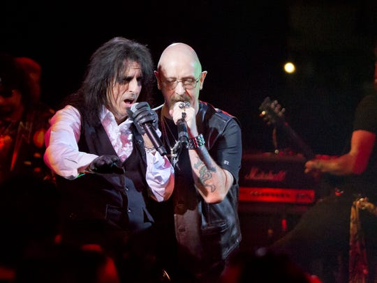 Alice Cooper and Judas Priest's Rob Halford perform
