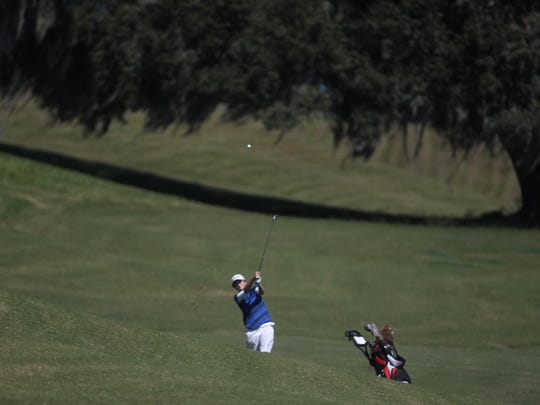 St. John Paul II's Morgan Comer plays during Wednesday's District 3-1A tournament at Southwood Golf Course.