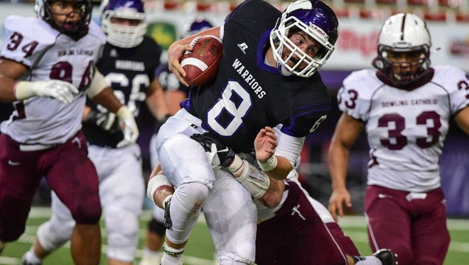 Waukee quarterback Ben Ferkin (8) is back after throwing for 27 touchdowns on the Class 4A state semifinal team.