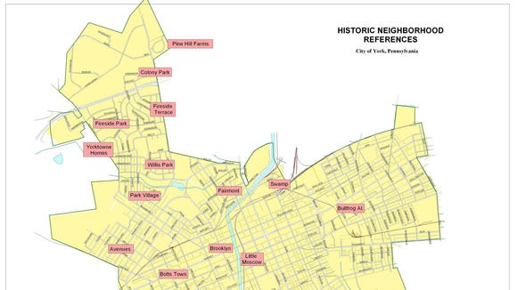This York map, submitted by Greg Halpin, shows neighborhood designations, some better known than others.