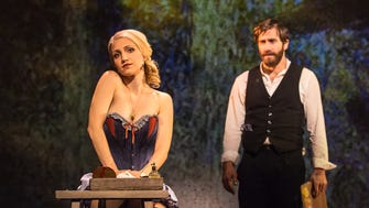 """Annaleigh Ashford and Jake Gyllenhaal in """"Sunday in the Park with George"""""""
