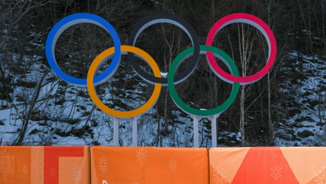 Olympic rings are set by the finish line at the Jeongseon Alpine Centre.