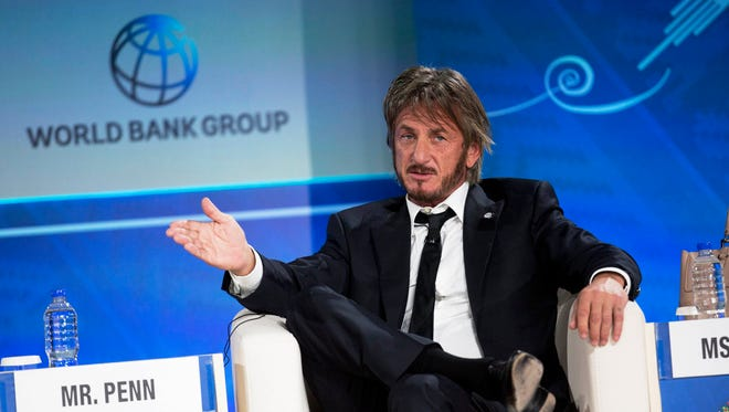 FILE - In this Oct. 8, 2015 file photo, Sean Penn speaks during a forum with young entrepreneurs during the IMF and World Bank annual meeting in Lima, Peru. Late Saturday, Jan. 9, 2016, Rolling Stone magazine published an interview that Guzman apparently gave to Penn in his hideout in Mexico months before his recapture. In the article and interview, Penn describes the complicated measures he took to meet the legendary drug lord. (AP Photo/Rodrigo Abd, File)