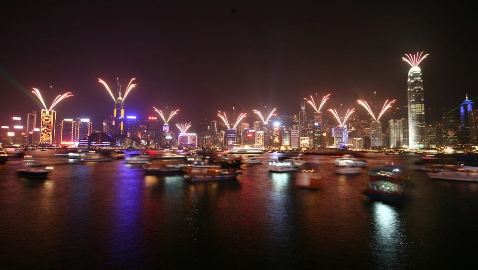 Each night, the Hong Kong skyline sparkles in LED lights