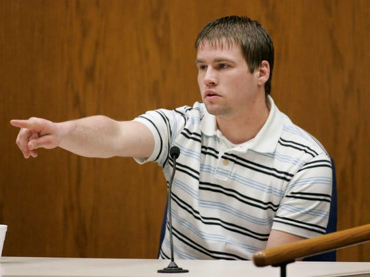 Bobby Dassey, Steven Avery's nephew and the brother of Brendan Dassey, a 17-year old also charged in Teresa Halbach's death points out Steven Avery in the courtroom to begin his testimony at the Calumet County Courthouse during third day of Steve Avery's trial in his murder case on Feb. 14, 2007, in Chilton, Wis.