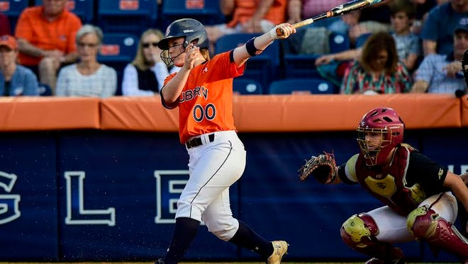 Auburn catcher Carlee Wallace had two hits and two RBIs in a 6-4 win over Alabama in the SEC Tournament quarterfinals on May 13, 2016. Wallace is currently hitting .311 with 37 RBIs and 18 extra-base hits this season.