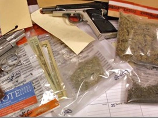 Authorities also discovered guns and cash, in addition