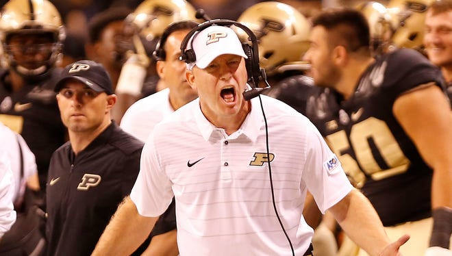 Purdue head coach Jeff Brohm voices his displeasure with the officials as the Boilermakes battle Louisville Saturday, September 2, 2017, in Lucas Oil Stadium in Indianapolis. Louisville defeated Purdue 35-28.