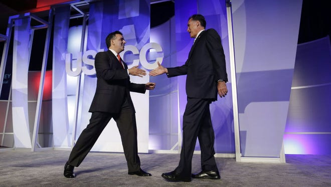 Then-Republican presidential candidate Mitt Romney and Hector Barreto in Los Angeles in 2012.