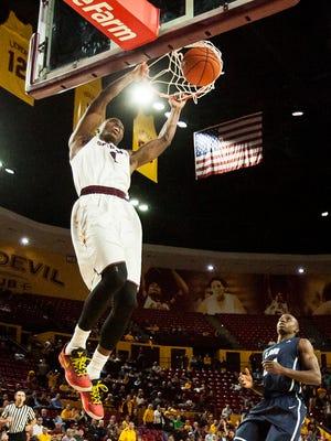 Arizona State's Roosevelt Scott dunks in the second half against Loyola Marymount on Thursday, Nov. 20, 2014, in Tempe.