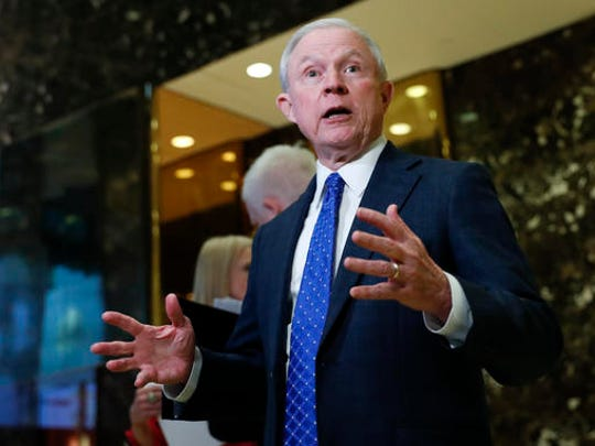 Sen. Jeff Sessions, R-Ala. speaks to media at Trump Tower, Thursday, Nov. 17, 2016, in New York. President-elect Donald Trump is offering the post of attorney general to Alabama Sen. Jeff Sessions, one of the Trump's closest and most consistent allies. That's according to a senior Trump official, who was not authorized to speak publicly about the conversation. (AP Photo/Carolyn Kaster)