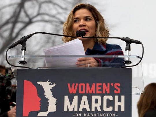 Actress America Ferrera speak to the crowd during the Women's March on Washington, Saturday, Jan. 21, 2017 in Washington.
