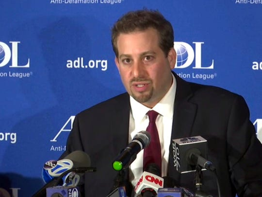 In this image taken from video, Oren Segal, Co-Director of the Anti-Defamation League's Center on Extremism, addresses the media at a news conference at ADL Headquarters in New York, Friday, March 3, 2017. Segal commented on the arrest of a Missouri man in connection with threats made to at least eight Jewish institutions nationwide and the Anti-Defamation League's headquarters in New York City. He also commented on the recent rise of anti-Semitic activity in general.