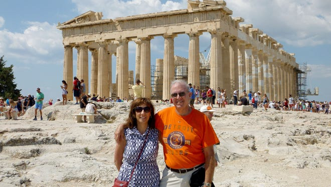 Jas and Therese Fodera of Livonia took the D to the Parthenon in Athens, Greece in November 2015. They were on a Mediterranean cruise and one of the stops was Athens.