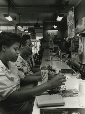 The Newberry's lunch counter in the 1980s, after segregation had ended.