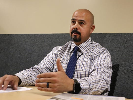 Washoe County School District Chief of Police Jason Trevino talks with the RGJ about the recent threats to area schools at the WCSD administration building in Reno on Feb. 21, 2018.