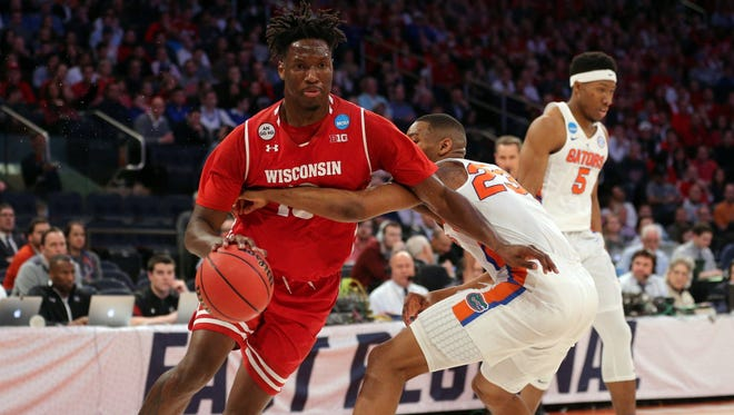 Nigel Hayes drives to the basket against the Florida Gators during a Sweet 16 NCAA Tournament game in March.
