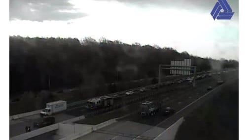 The crash has traffic down to one lane.