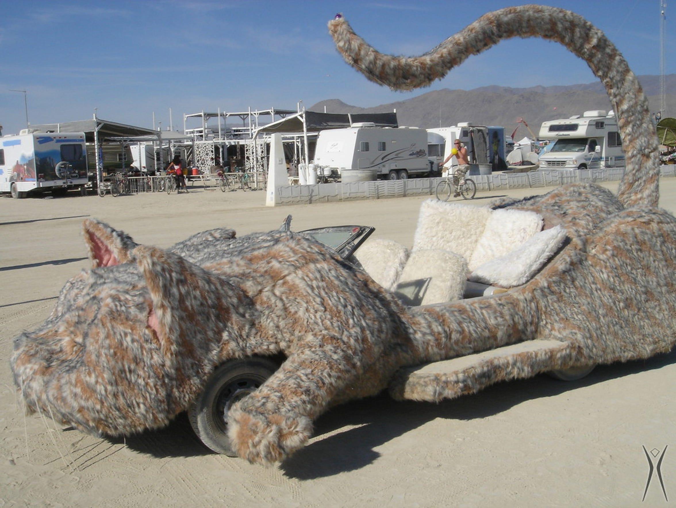 "Burning Man founder Marian Goodell's ""cat car"" is seen"