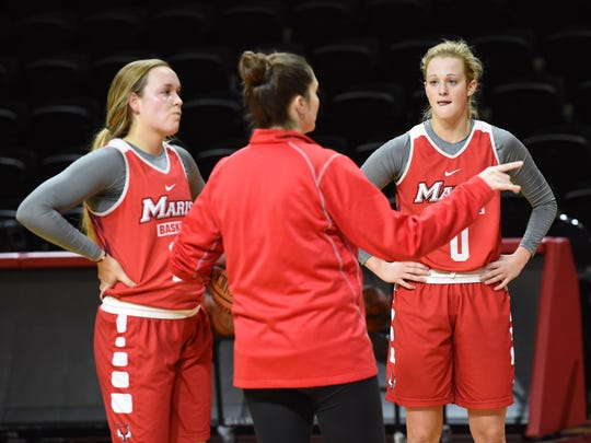 Marist's Grace Vander Weide, right, pictured at practice