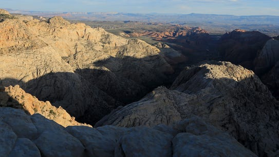Shadows fall across Snow Canyon as seen from the Snow