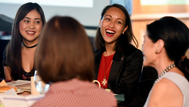 Sen. Régine Biscoe Lee, second from right, shares a moment of laughter with others attending the We Make Change Work for Women breakfast forum at the Pacific Star Resort & Spa in Tumon on Wednesday, March 8, 2017. Sen. Lee spoke during the forum, hosted by the Consulate General of the Philippines and the Guam Women's Chamber of Commerce, held in celebration of International Women's Day and National Women's Month.