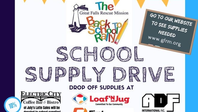 The Great falls Rescue Mission is hosting a Back-to-School Rally on Aug. 26 from 2 to 4 p.m. The Rescue Mission will be giving away 700 school supply-filled backpacks to 700 registered low-income students. If you would like to register your child, visit Opportunities Inc. Community Resource Center at 1123 Central Ave.