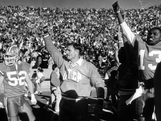 UTEP head coach Bob Stull celebrated the Miner's victor