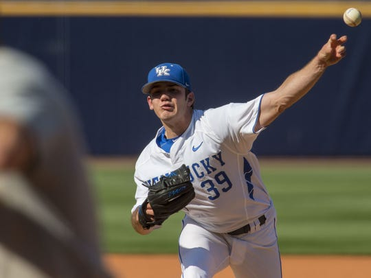 Kentucky pitcher Zach Logue pitches against Alabama