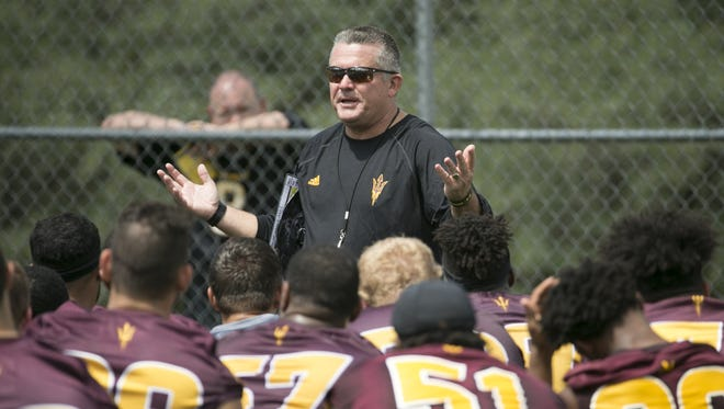 Arizona State football coach Todd Graham talks to his team at the end of practice at Rumsey Park in Payson on Wednesday, August 3, 2016.