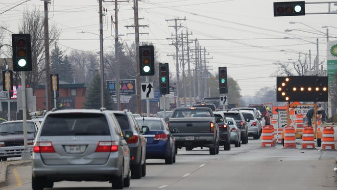 Southbound traffic is congested due to a roundabout construction project along Richmond Street and Northland Avenue  in Appleton.