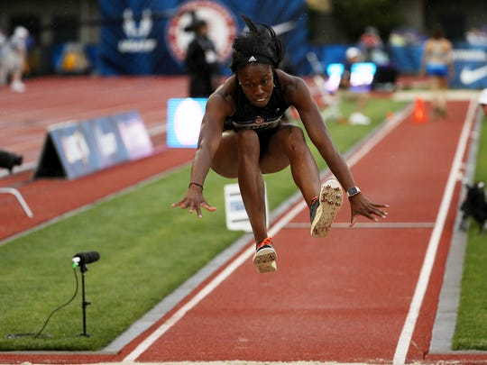 Christina Epps competes in the Women's Triple Jump Final during the 2016 U.S. Olympic Track & Field Team Trials at Hayward Field on July 7, 2016 in Eugene, Oregon.