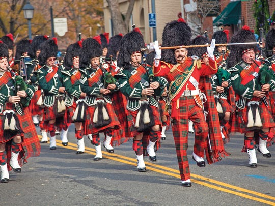 MIlitary bands march in annual Scottish Christmas Parade