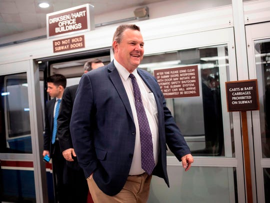 FILE - In this Jan. 25, 2018 file photo, Sen. Jon Tester,