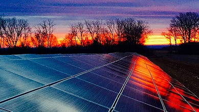 A photo of the new solar facility for Ithaca College, in Seneca, NY.