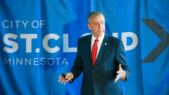 St. Cloud Mayor Dave Kleis gives the State of the City address Tuesday, April 11, at the new St. Cloud Area YMCA Community & Aquatics Center.