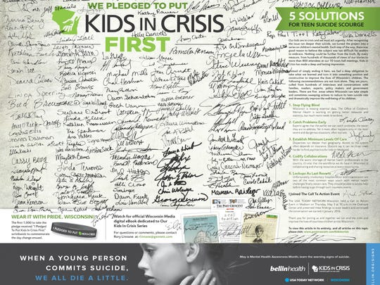 A pledge signed by participants at Kids in Crisis events appeared across the USA TODAY NETWORK-Wisconsin publications on May 8.