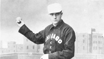 Billy Sunday of the Chicago White Stockings is pictured in this photograph from the 1880s. The White Stockings spent spring training in Hot Springs.