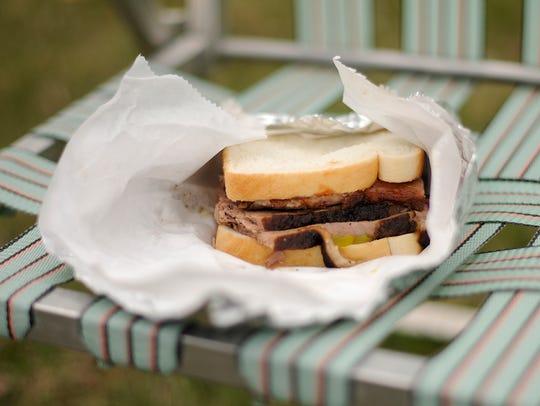 A sliced brisket sandwich at Joe's Texas BBQ in Green