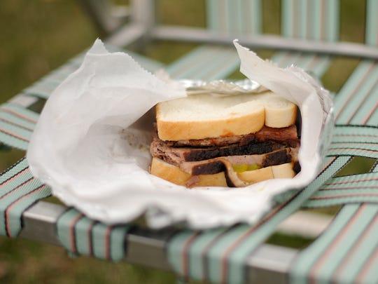 A sliced brisket sandwich at Joe's Texas BBQ in Green Bay.