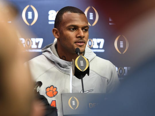 Clemson quarterback Deshaun Watson answers questions during the Tigers National Championship Media Day in Tampa on Saturday, January 7, 2017.