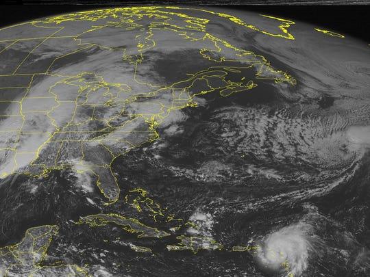 This NOAA satellite image taken Monday, Oct. 13, 2014,
