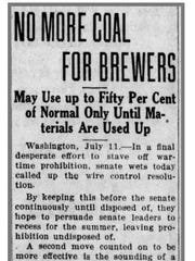 Coal and fuel consumption by breweries was curtailed in 1918 as reported in the Wausau Daily Herald.