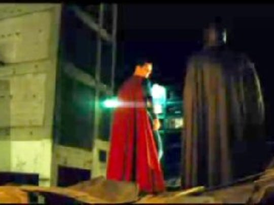 Superman prepares to take flight in a screen grab from a 'Batman v. Superman: Dawn of Justice' trailer. The scene was filmed in Detroit at the Russell Industrial Center.