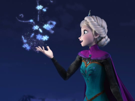 Elsa the Snow Queen, voiced by Idina Menzel, appears
