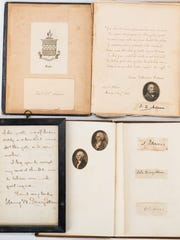 2. Two autograph albums containing dozens of Presidential and Civil War signatures, from John and Abigail Adams to William Tecumseh Sherman. Est. $8,000-9,000.