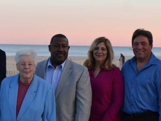 The Long Branch First ticket (left to right) Mayor-elect John Pallone, Councilwoman Mary Jane Celli, and council-elects Bill Dangler, Rose DeMarco Widdis, Mario Vieira and Anita Voogt.