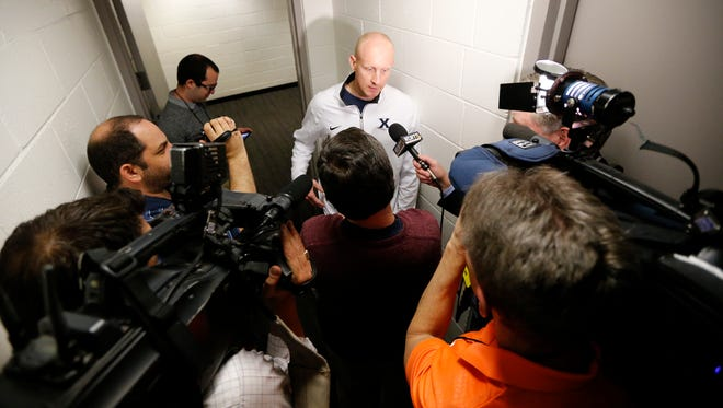 Xavier Musketeers head coach Chris Mack talks with the media after a practice session ahead of the NCAA Tournament Sweet 16 matchup between the Xavier Musketeers and the Arizona Wildcats at the SAP Center in San Jose, Calif., on Wednesday, March 22, 2017.